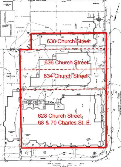 628, 638, 636, 634 Church Stree & 68 & 70 Charles St E Map